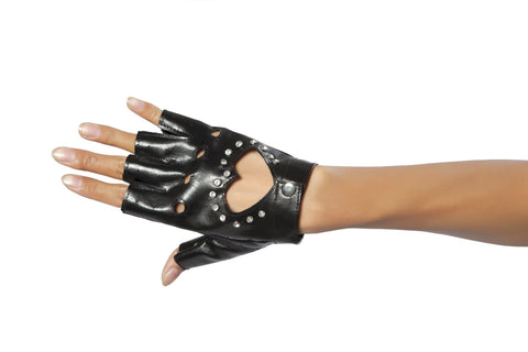 Black Gloves with Cut-out Heart and Stones