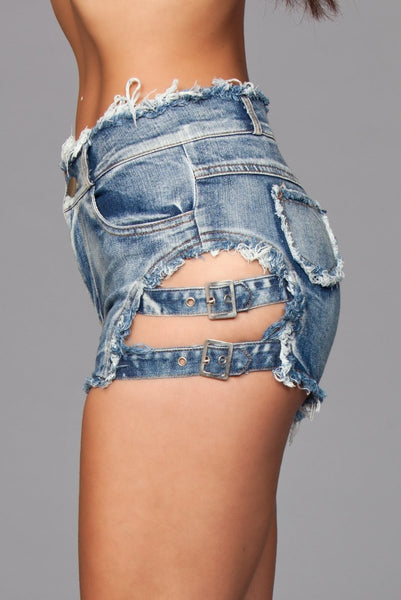 Buckled Down Denim Shorts  Blue Wash