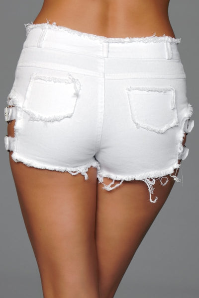 Buckled Down Denim Shorts White