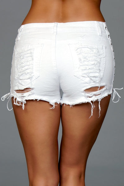 Looped In Distressed Shorts White