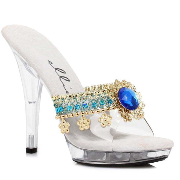 5 Heel Mule With Jewel Charm Details