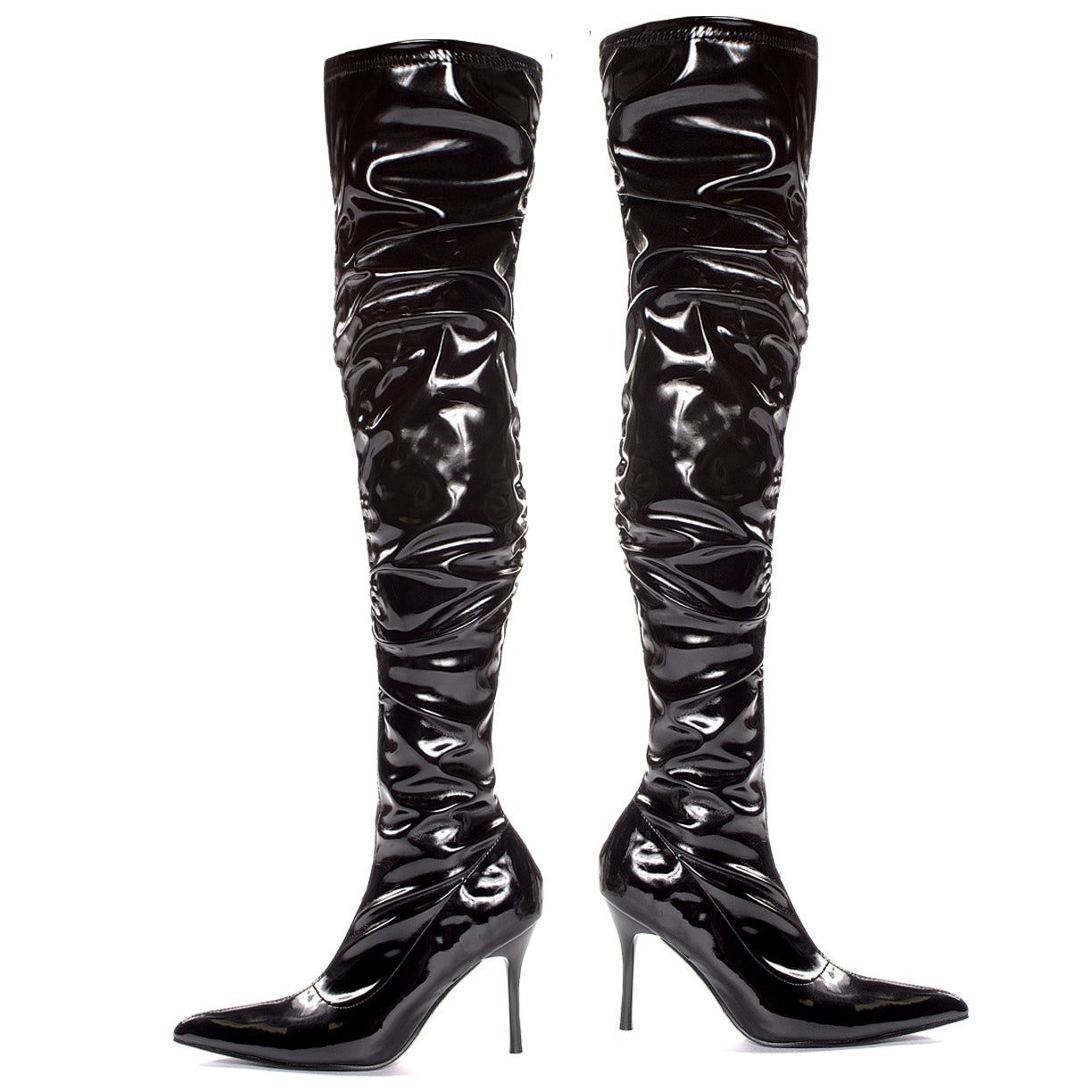 3.5 Faux Stretch Leather And Patent Thigh High With Ruching