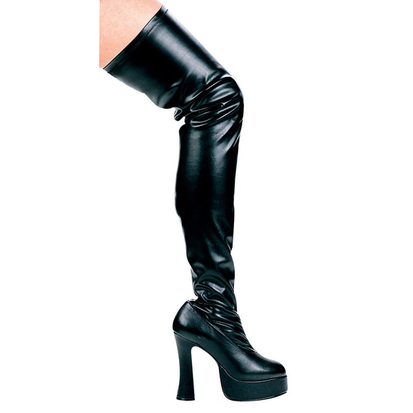5 Chunky Heel Thigh High Stretch Boots