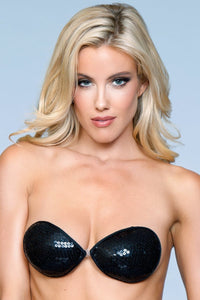 Black Sequin Adhesive Bra
