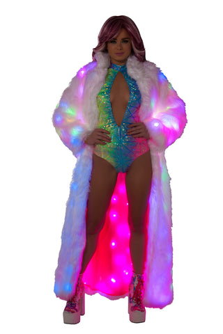 Faux Fur White Light Up Coat
