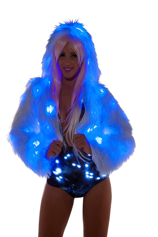 White Light Up Fur Hooded Cropped Jacket