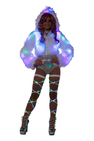 Croppped White Faux Fur Light Up Jacket