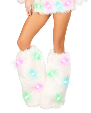 Light Up White Cosmos Legwarmers