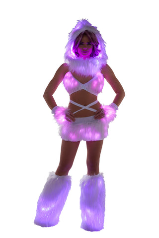 White Fur Light-up skirt with Pink lights