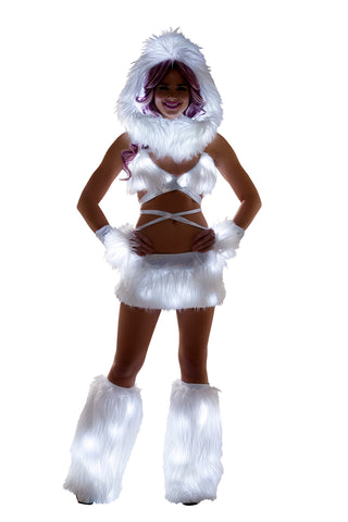 White Fur Light-up skirt with White lights