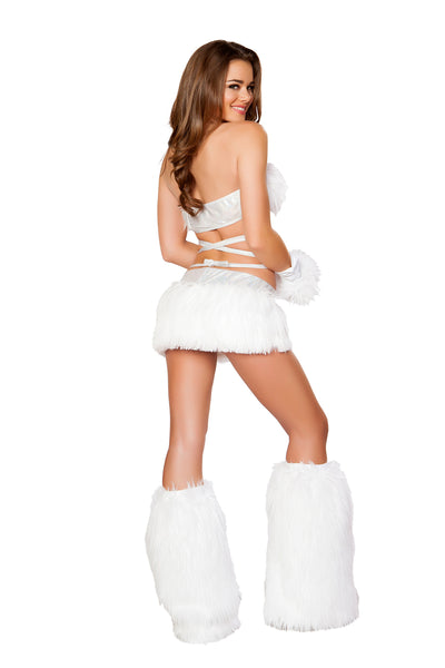 White Fur Light-up Wrap Top with White Lights