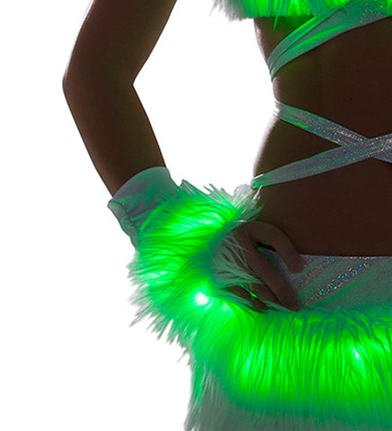 White Fur Light-up gloves with Green lights