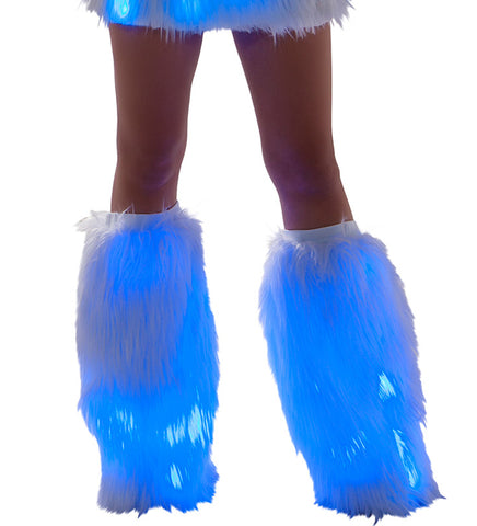 White Fur Light-up Legwarmers with Blue lights