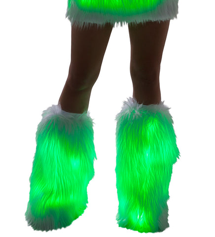 White Fur Light-up Legwarmers with Green lights