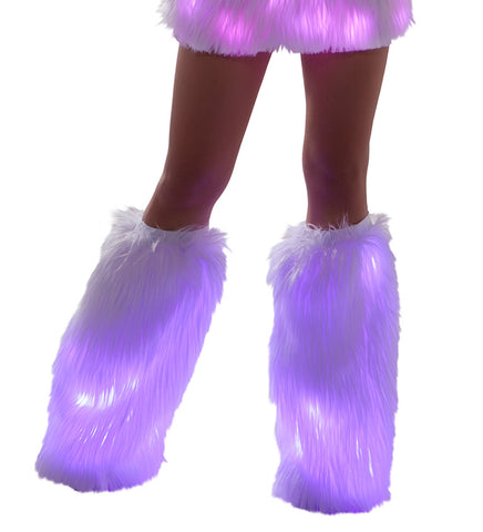 White Fur Light-up Legwarmers with Pink lights