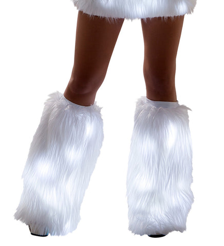 White Fur Light-up Legwarmers with White lights