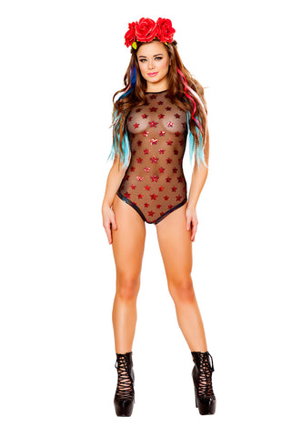 Black Sequin Star Mesh Body Suit