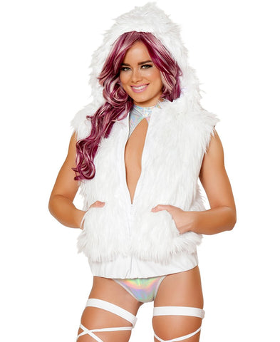 J Valentine BlueFlashing Light-Up Faux Fur Hooded Vest,