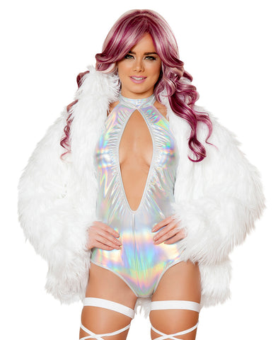 J Valentine Flashing Light-Up White Faux Fur Coat