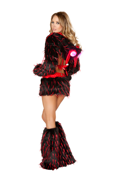 Faux Fur Black and Red Spike Leg Warmers