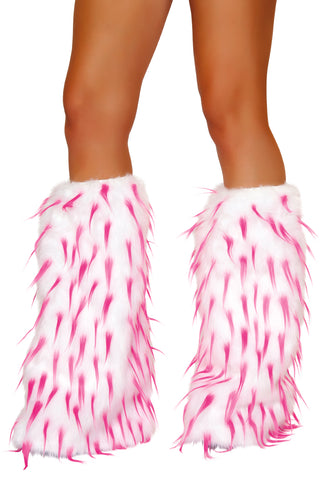 Faux Fur White and Pink Spike Leg Warmers