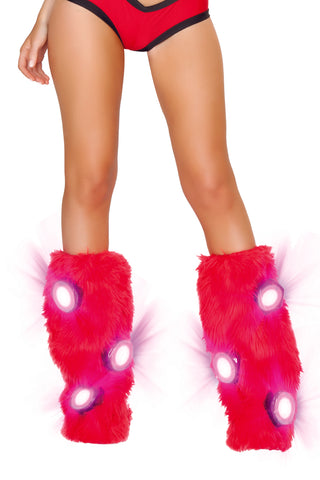 Furry Light Up Red Legwarmers