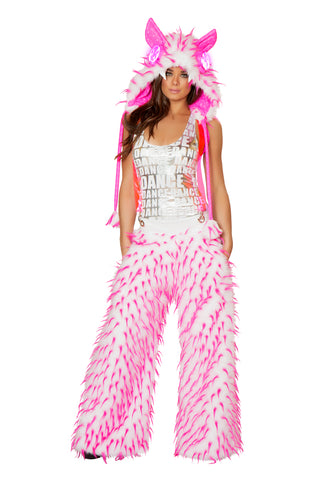Unisex Pink Faux Fur Spiked Pants