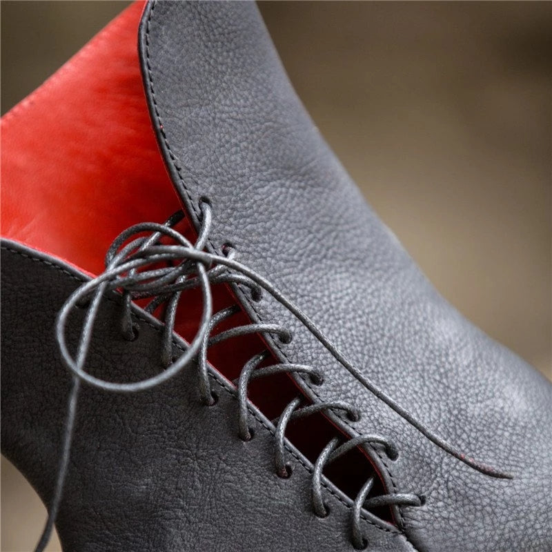 Vintage Flat Heel Comfy Lace-Up Boots