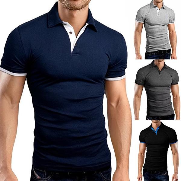 Mens Casual Stand Collar Polo Shirts Short Sleeve Golf Shirts