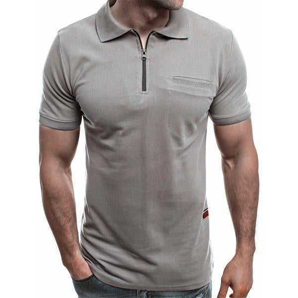 Mens Short Sleeve Zipper Turndown Collar Golf Shirts Polo Shirts