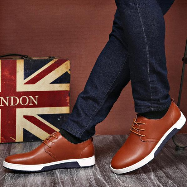 Mens British Style Pure Color Soft Casual Driving Flats Shoes