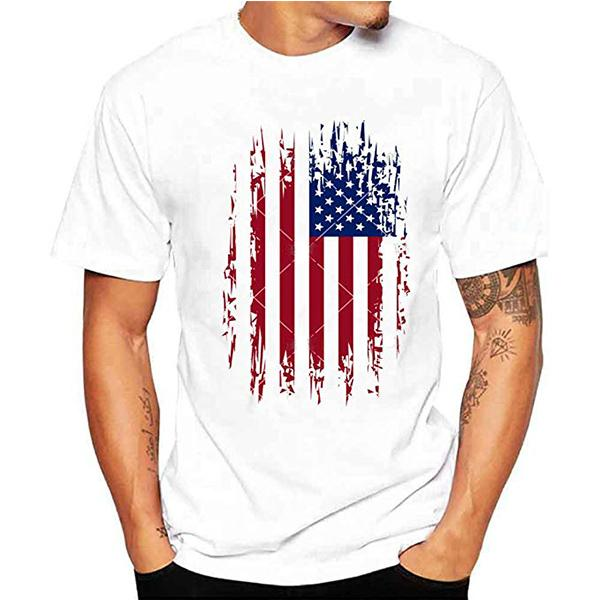 Mens Casual Short Sleeve 3D Printed White T-Shirts