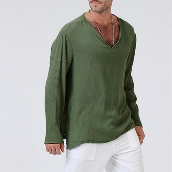 Men's V-Neck Solid Color Linen Cotton Long Sleeve T-shirts