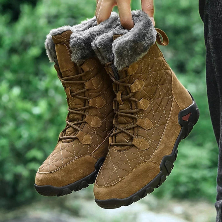 Men's Large Size Plush Lining Warm Snow Boots Hiking Outdoor Ankle Boots