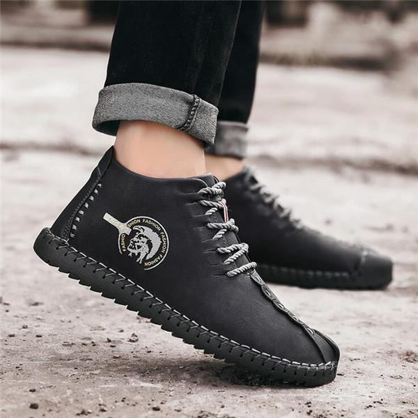 Men Microfiber Leather Plush Lining Casual Boots