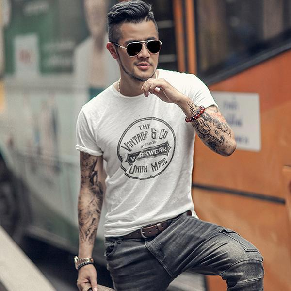 New Fashion Men Short Sleeve Henley Shirts Casual T-shirt