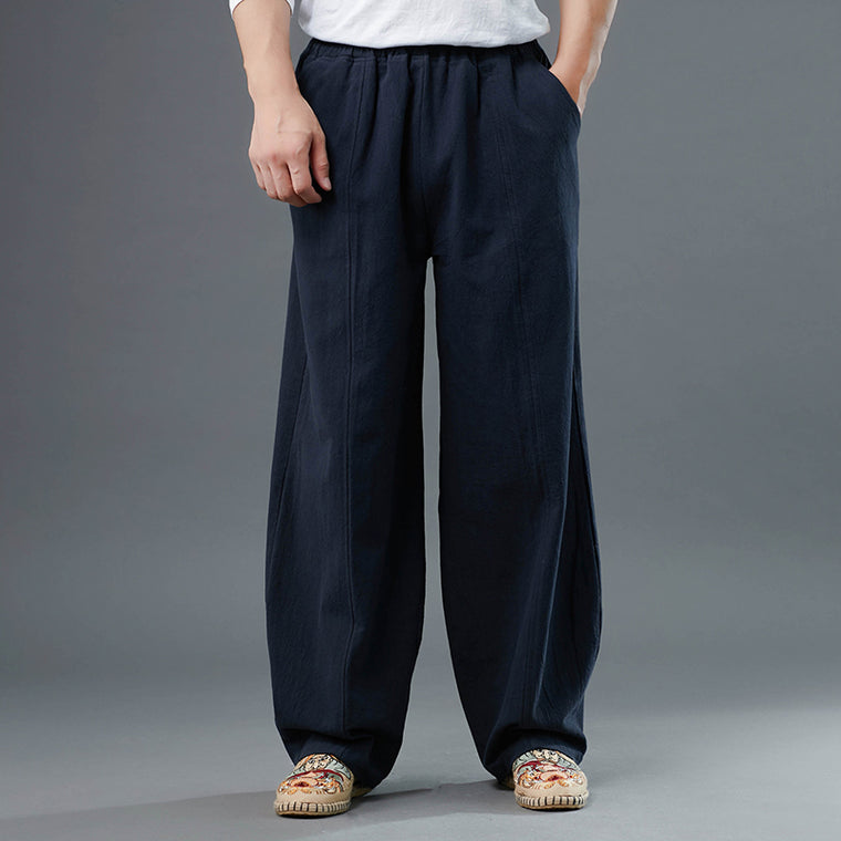 Men's Elastic Band Pockets Casual Pants