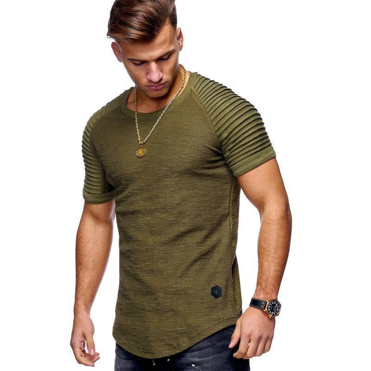 Mens Short Sleeve Striped Fold Raglan Basic Cotton Street T-Shirt