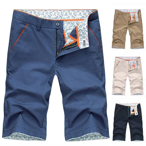 Mens Pure Color Cotton Beach Shorts Casual Short Pants