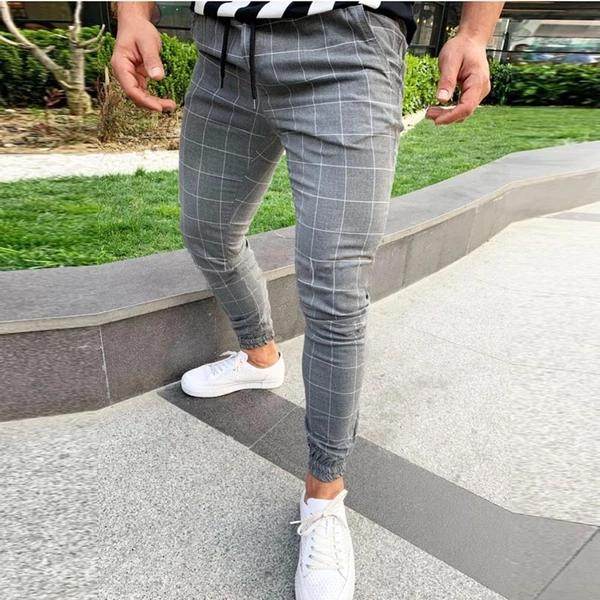 Men's Plaid Casual Stretch Long Pants