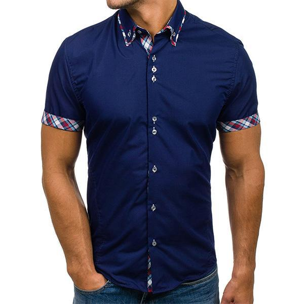 Mens Plaid Turndown Collar Short Sleeve Shirts