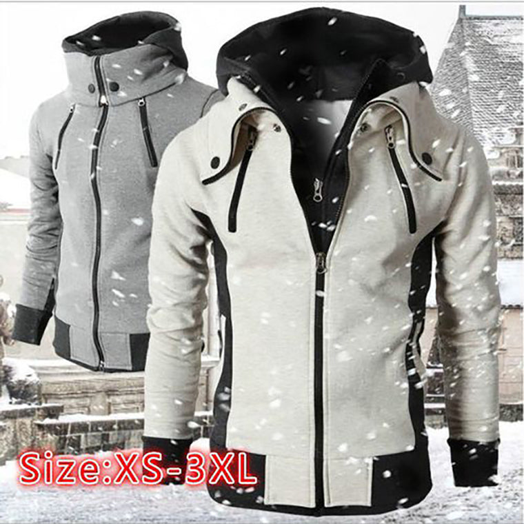 New Men's Fake Two-piece Sports Hooded Jacket