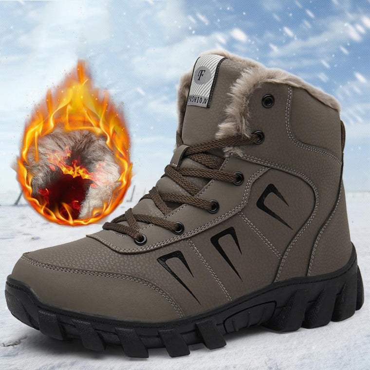 Men Outdoor Plush Lining Warm Winter Snow Boots Casual Ankle Boots