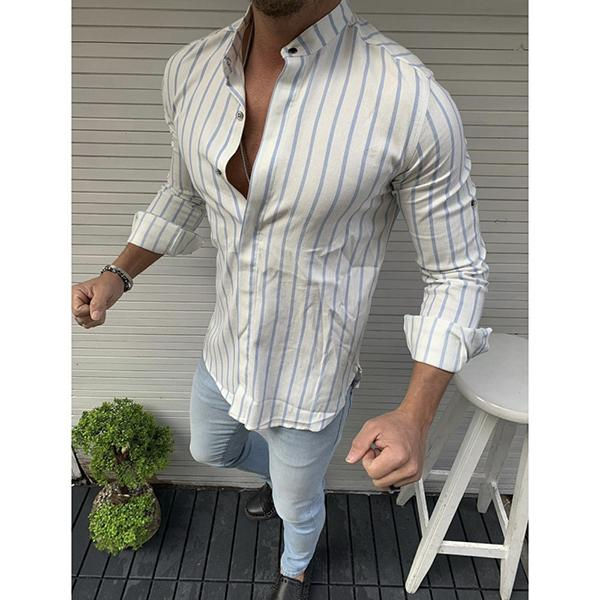 Men's Striped Button Shirt