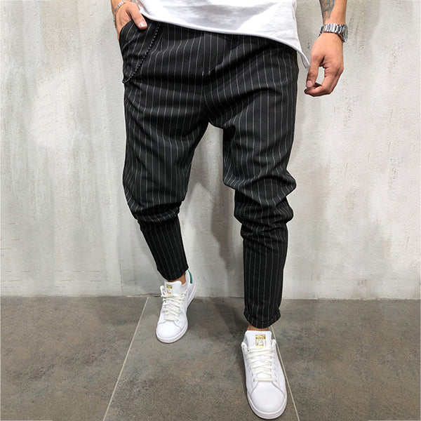 Men's Striped Straight Casual Slim Fitness Pants