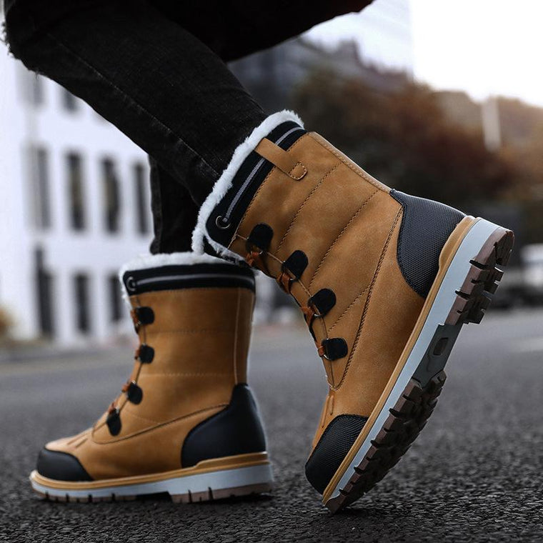 Men Fashion Outdoor Warm Snow Boots Plush Lining Lace-up Ankle Boots