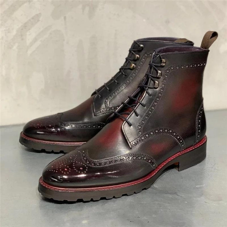 Mens Large Size Vintage Lace-up Fashion Ankle Boots