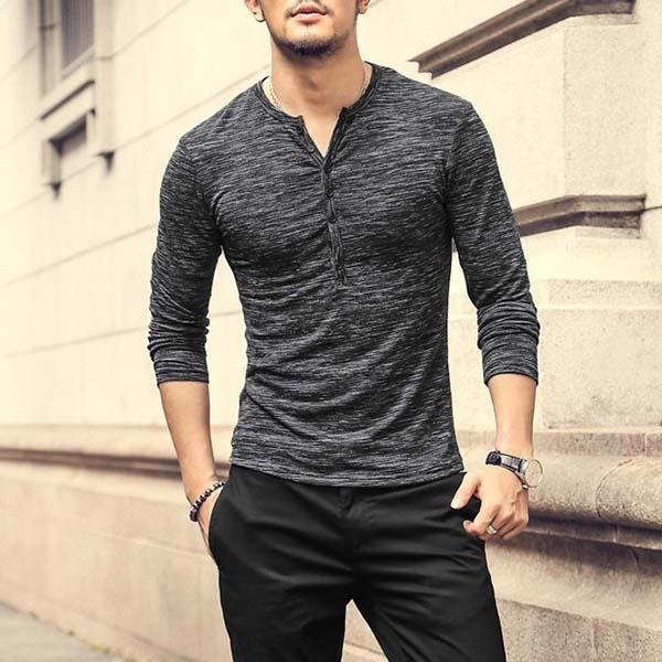 Casual Comfort Button Round Collar T-Shirts