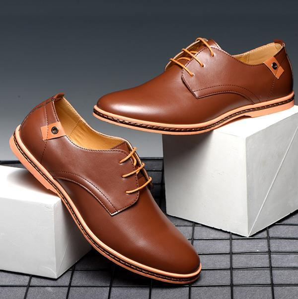 Men's Lace-Up Vintage Business Flat Shoes Formal Shoes