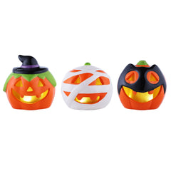 Set of 3 Trick or Treat Mini Lighted Pumpkins